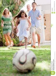 happy family playing soccer and having fun royalty free stock