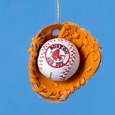 boston sox baseball in glove ornament