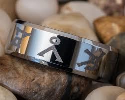 stargate wedding ring tungsten wedding ring 8mm beveled stargate by fanaticcreations