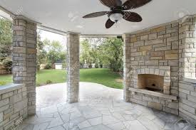 stone covered patio in new construction home stock photo picture