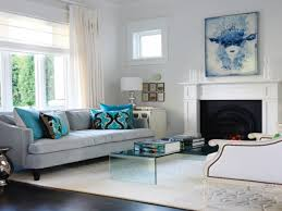 turquoise and gray living room floating steps brown wooden legs