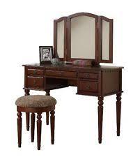 Folding Vanity Table Tri Folding Mirror White Wood Vanity Set Makeup Table Dresser 4