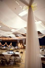 Chiffon Ceiling Draping Church Gym Draped And Decorated Into A Wedding Reception