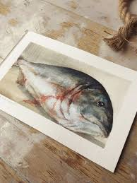 jessi fikan decor 150 00 original watercolor study sketchbook fish art fly fishing nautical fishing home
