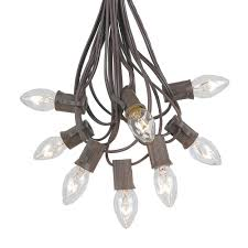 clear twinkle c7 light set on brown wire novelty