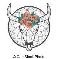 bull skull native americans tribal style tattoo blackwork