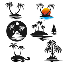 palm tree island svg cuttable design