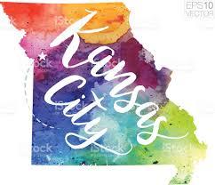 Kansas City Map Kansas City Missouri Vector Watercolor Map Stock Vector Art