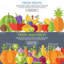fresh fruits and vegetables flat illustration concepts set stock