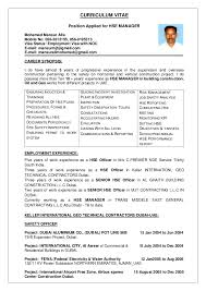 health and safety resume sample