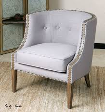 Barrel Accent Chair Light Gray Barrel Back Accent Chair With Nail Accents Exposed