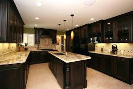 kitchen ideas with brown cabinets dark countertops with dark cabinets white black countertops with