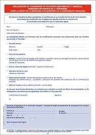 nationalitã franã aise mariage déclaration de changement de situation personnelle et familiale