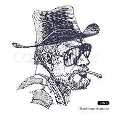man with hat sunglasses and beard is smoking cigar stock vector