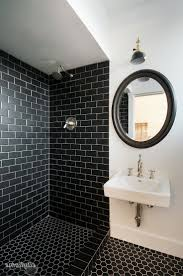 Gray And Brown Bathroom by Black Tile Bathroom Floor Crystal Chandelier In Celing Shower Room