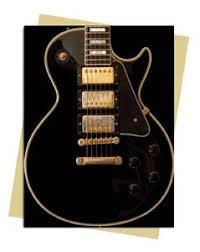 gibson les paul black guitar greeting card sold in packs of 6