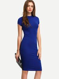 blue dress blue sleeve knee length bodycon dress emmacloth women fast