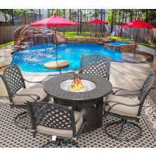 42 Patio Table Barbados Sling Outdoor Patio 5pc Dining Set For 4 Person With 42