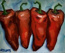 kyle buckland jenn counts red chili peppers art still life oil