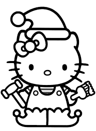 download hello kitty christmas elf coloring pages or print hello