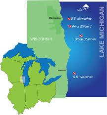 Kenosha Wisconsin Map by Alert Diver Lake Michigan
