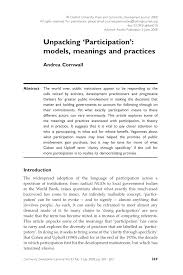 unpacking u0027participation u0027 models meanings and practices pdf