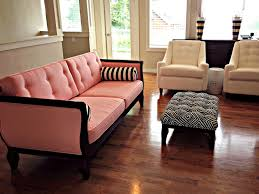 Pink Sofa Slipcover by Blue Roof Cabin Custom Upholstered Pink And Black Sofa