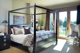 modern canopy bed bedroom rustic with bedside table beige black
