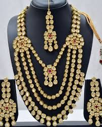 bridal necklace jewelry images Kundan bridal jewellery antique set multi line jewellup jpg