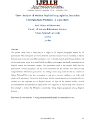 error analysis of written english paragraphs by jordanian