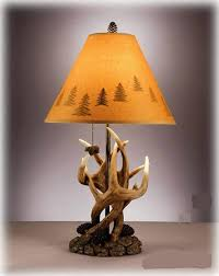 Antler Table Lamp Deer Antlers Table Lamps Cabin Wood Living Room Brown Rustic Lodge