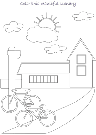 blank scenery for colouring coloring page pictures