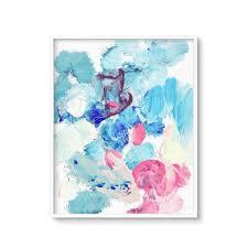 blue abstract painting printable art modern coastal beach house