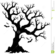 silhouette halloween tree with bats stock vector image 43929011