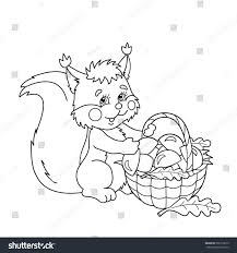 coloring page outline cartoon squirrel basket stock vector