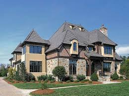 tudor style houses with crumbling stone wall theme and with gray