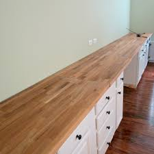 butcher block as office desk top office pinterest butcher explains how they conditioned and stained the butcher block read when ready ikea butcherblock countertop for built in wall to wall desk home is where my