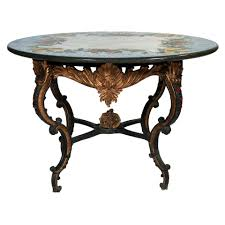 a bronze rococo style base table with a painted stone top for sale