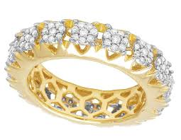 eternity wedding bands 14k yellow gold real diamond cluster prong eternity wedding band