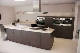 contemporary kitchen wood veneer island lacquered