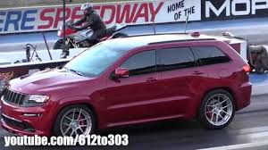 purple jeep cherokee 2014 jeep grand cherokee srt8 drag race youtube