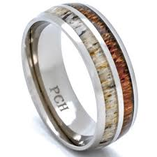 mens comfort fit wedding bands deer antler and koa wood ring titanium mens wedding band comfort