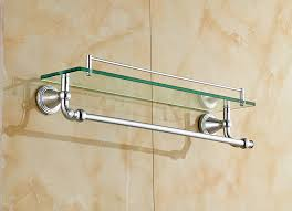 Bathroom Chrome Shelves Chrome Polished Bathroom Glass Shelf Wall Mount Cosmetic Holder