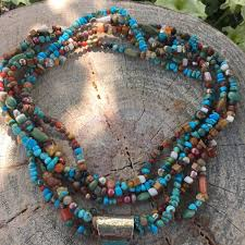 beautiful beads necklace images Multi strand beaded turquoise necklace with blue turquoise pendant jpg