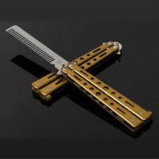 butterfly comb dia butterfly knife comb yellow gold cool blades