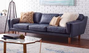 Leather Blue Sofa How To Decorate With A Blue Sofa Overstock
