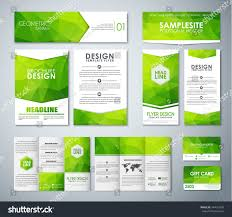 set corporate style green polygonal elements stock vector