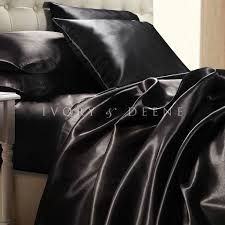 luxury midnight black silk satin king size bed sheet set new hotel