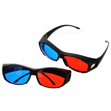 anaglyphic blue 3d glasses 2pcs free shipping dealextreme