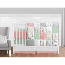 Jojo Crib Bedding Sweet Jojo Design Woodsy Collection In Coral Mint And Grey 9